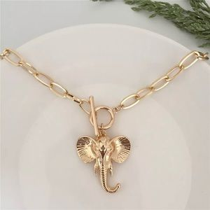 Gold Elephant Pendant Chain Choker Necklace New